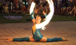 Feuershow Spagat